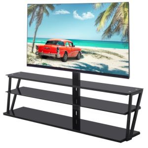 Universal Tempered Glass metal frame Three-layer glass TV Stand - QSR-Unlimited