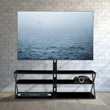 Load image into Gallery viewer, Glass Floor Media Storage Stand Black Tempered Glass Height Adjustable - QSR-Unlimited