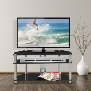 Multi-Function Black Tempered Glass Metal Frame 3-Tier Floor TV Stand - QSR-Unlimited
