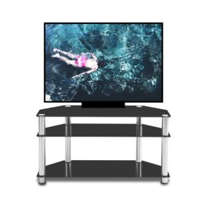 Multi-Function Black Tempered Glass Stainless Steel Frame 3-Tier Floor TV Stand - QSR-Unlimited