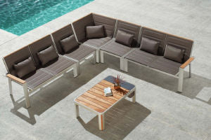 Higold Geneva 4/5/6 Person Outdoor Lounge Corner Sofa Set with Coffee Table w/ Grade A Teak - QSR-Unlimited