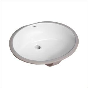 CHANGIE 1601W Oval Undercounter Bathroom Ceramic Vanity Sink, White - QSR-Unlimited