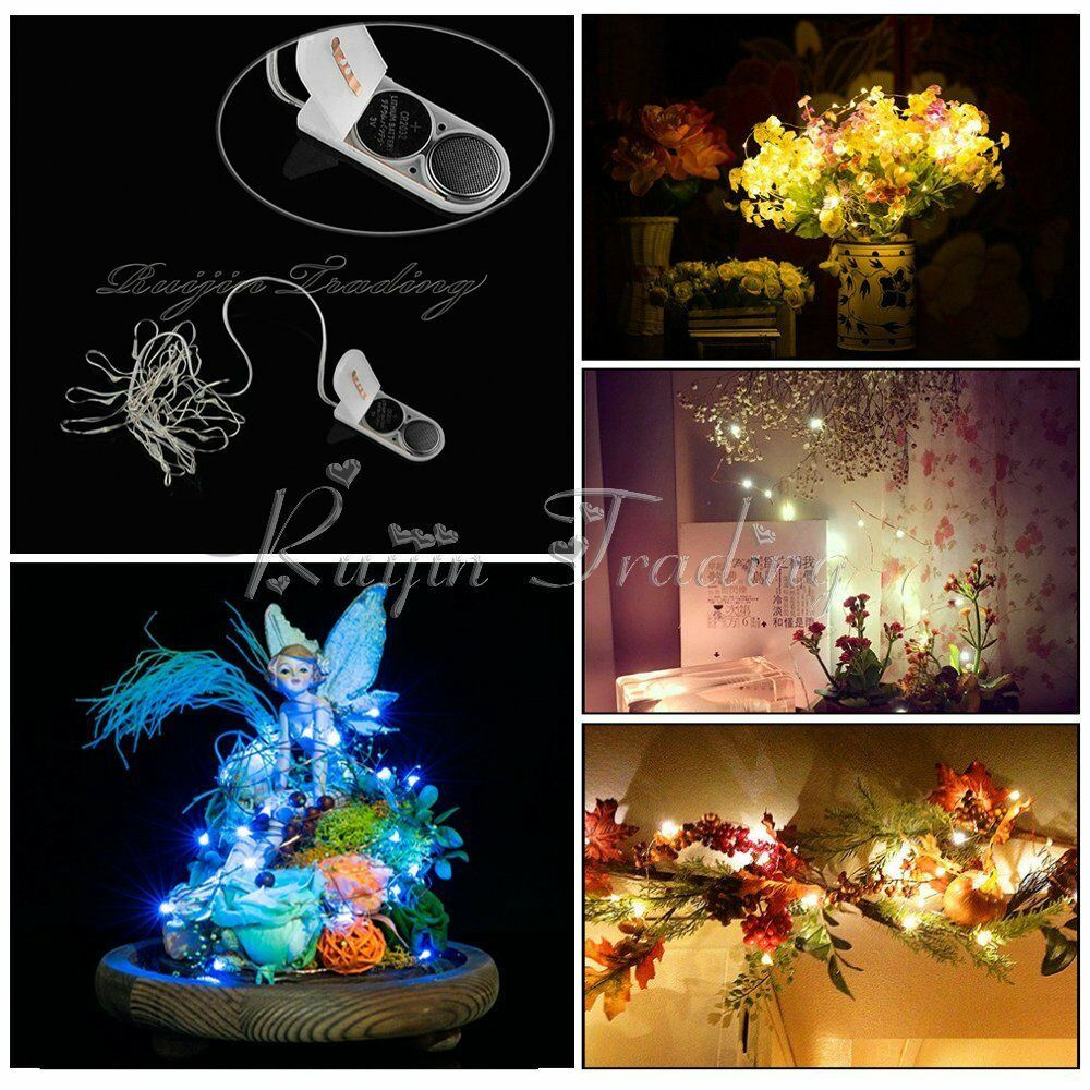 3m button battery powered silver copper wire mini fairy lights - QSR-Unlimited