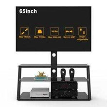 Load image into Gallery viewer, Black Multi-Function Angle And Height Adjustable Tempered Glass TV Stand - QSR-Unlimited