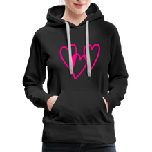 Load image into Gallery viewer, 3 Pink Hearts Women's Premium Hoodie - QSR-Unlimited