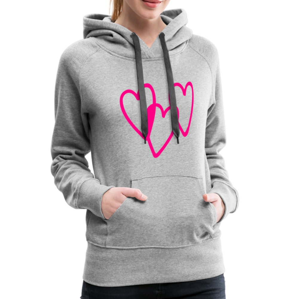 3 Pink Hearts Women's Premium Hoodie - QSR-Unlimited