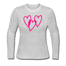 Load image into Gallery viewer, 3 Pink Hearts Women's Long Sleeve Jersey T-Shirt - QSR-Unlimited