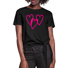 Load image into Gallery viewer, 3 Pink Hearts Women's Knotted T-Shirt - QSR-Unlimited