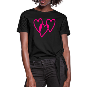 3 Pink Hearts Women's Knotted T-Shirt - QSR-Unlimited