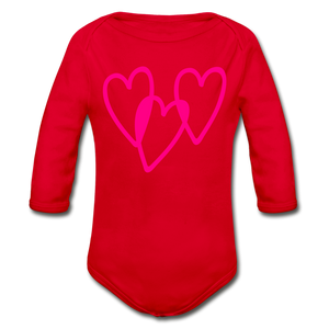3 Pink Hearts Organic Long Sleeve Baby Bodysuit - QSR-Unlimited