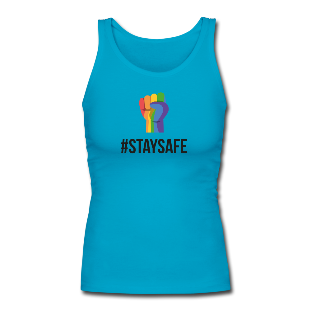 #StaySafe Women's Longer Length Fitted Tank - QSR-Unlimited