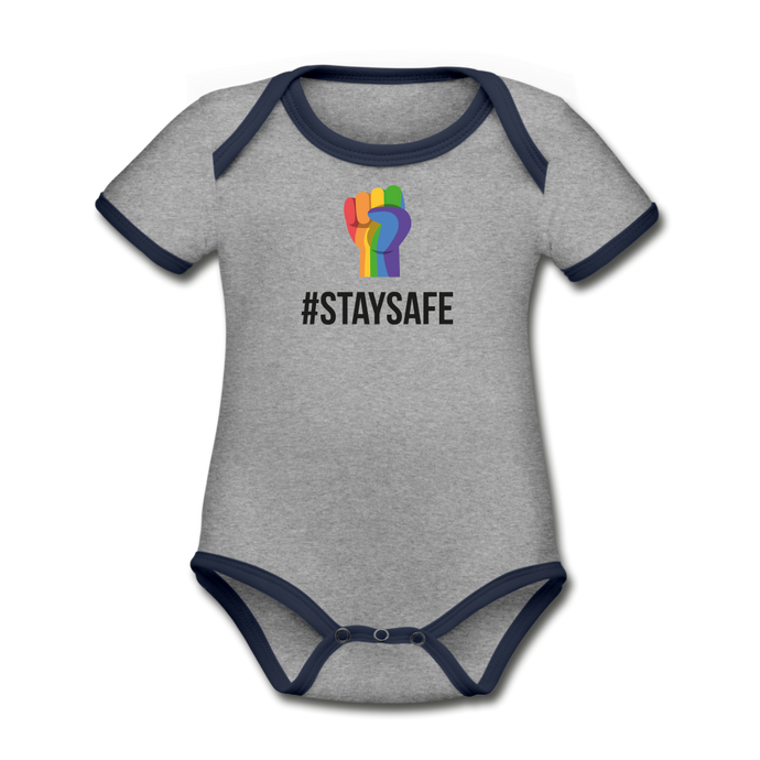#StaySafe Organic Contrast Short Sleeve Baby Bodysuit - QSR-Unlimited