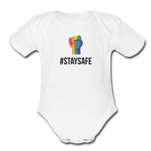 Load image into Gallery viewer, #StaySafe Organic Short Sleeve Baby Bodysuit - QSR-Unlimited