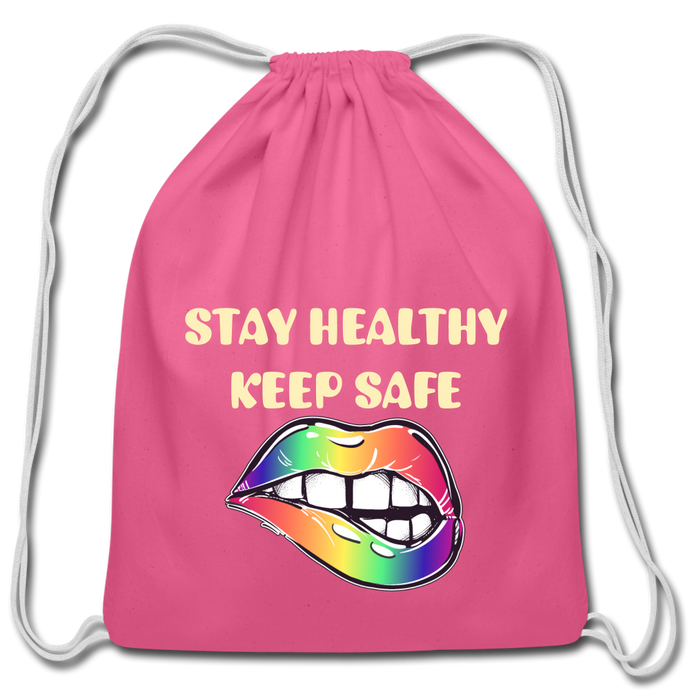 Stay Healthy Keep Safe Cotton Drawstring Bag - QSR-Unlimited