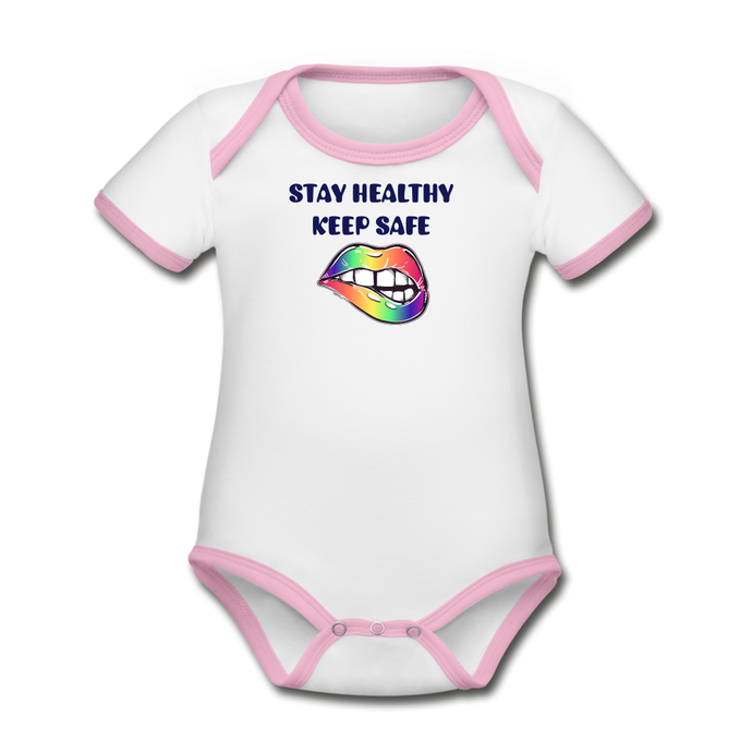 Stay Healthy Keep Safe Organic Contrast Short Sleeve Baby Bodysuit - QSR-Unlimited