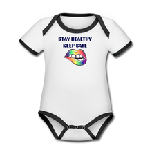 Load image into Gallery viewer, Stay Healthy Keep Safe Organic Contrast Short Sleeve Baby Bodysuit - QSR-Unlimited