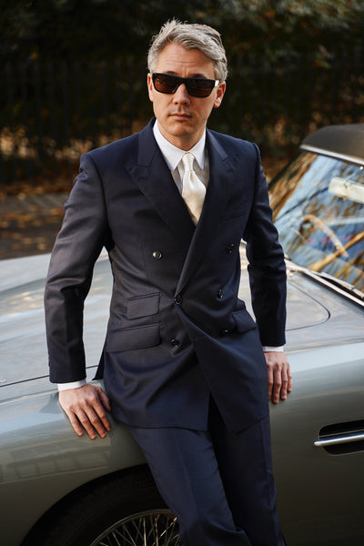 Mason and Sons Navy Double Breasted Suit The Italian Job