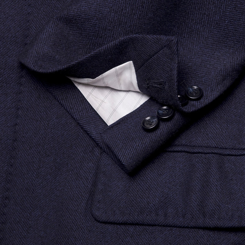 Navy Herringbone Loro Piana Chesterfield Overcoat