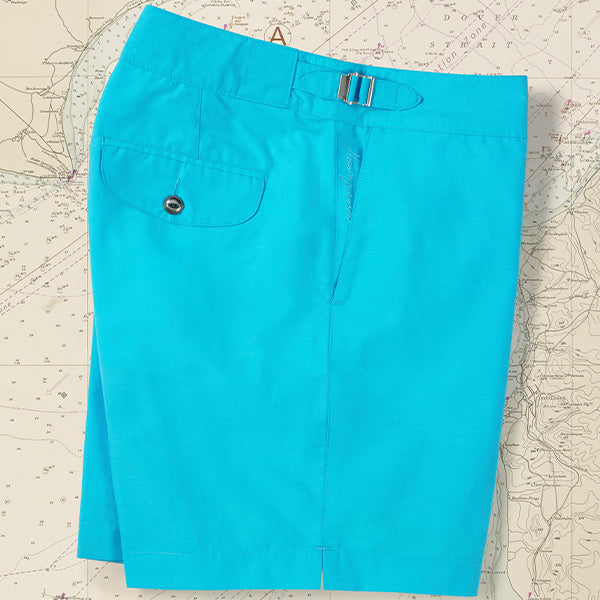 Solid Light Blue Clipper Swim Shorts