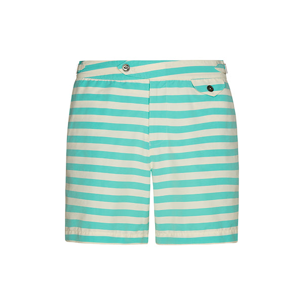 Green Regatta Stripe Clipper Swim Shorts