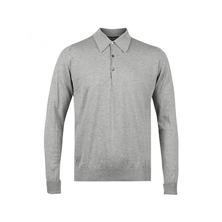 Silver Finchley Long Sleeved Polo