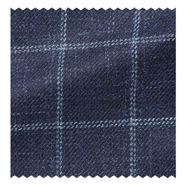Navy with Sky Blue Wool/Silk/Linen Windowpane Twill