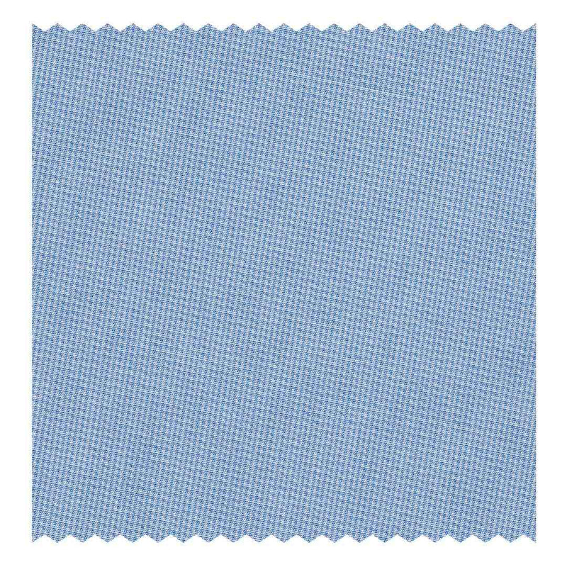 Sky-Blue Hairline-Check Poplin (2 Fold 120's)