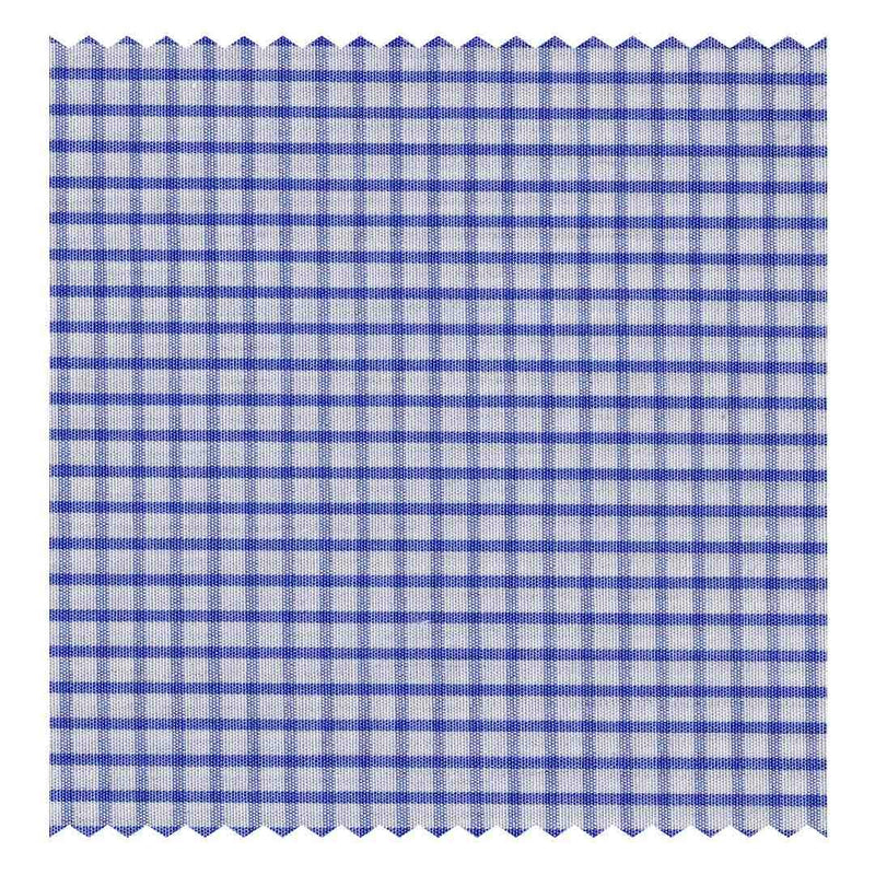 Mid-Blue Mini-Windowpane Poplin (2 Fold 100's)
