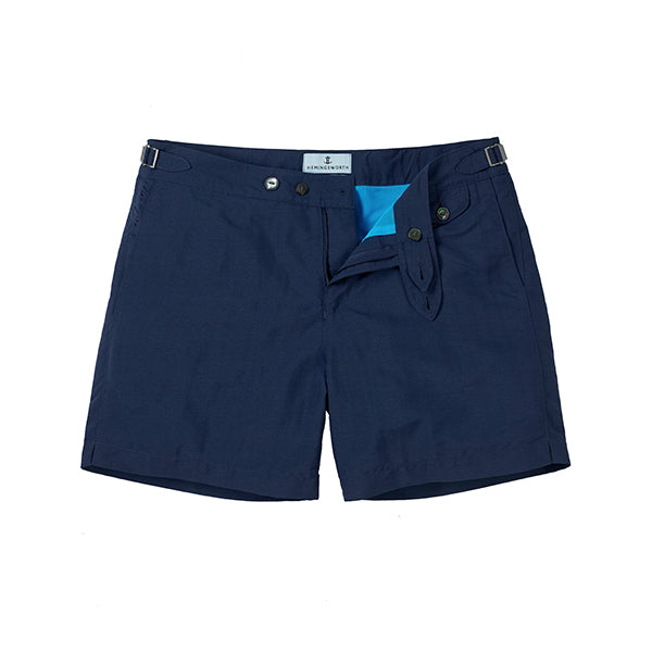 Navy Solid Clipper Swim Shorts