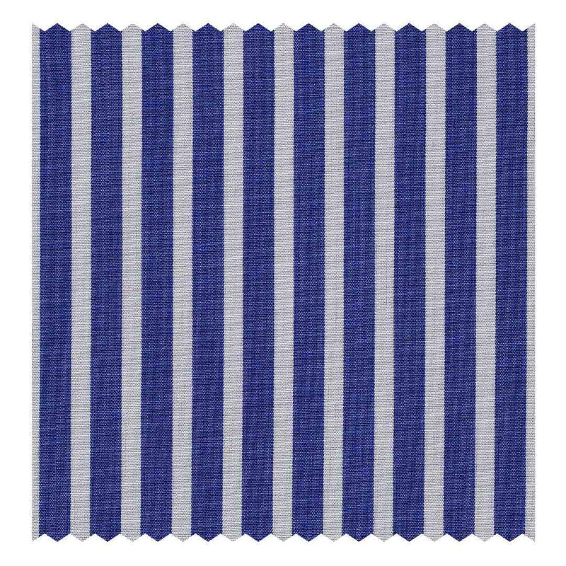 Navy-Blue Butcher-Stripe Poplin (Sea Island Quality)