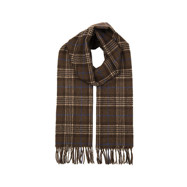 Chocolate Cashmere Check Scarf with Gift Box