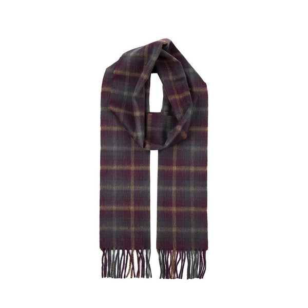 Cranberry Cashmere Check Scarf with Gift Box
