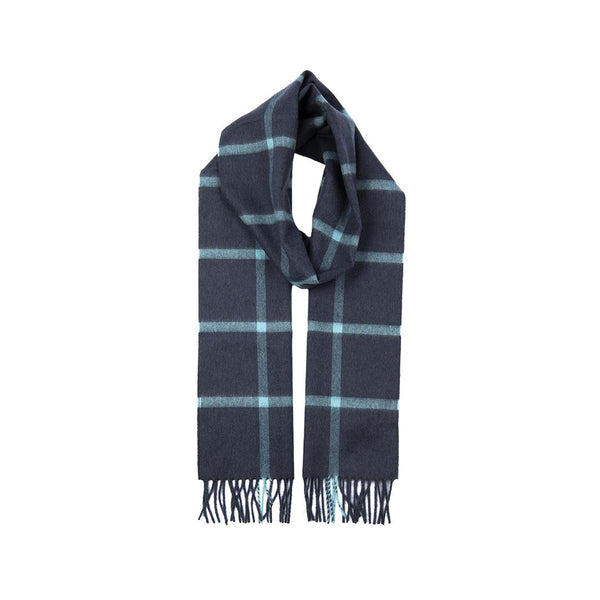 Denim Cashmere Check Scarf with Gift Box