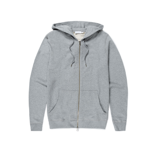 Grey Melange Cotton Loopback Zip Hoody
