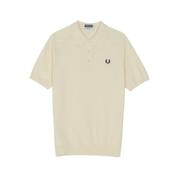 Ecru Raglan Knitted Polo Shirt