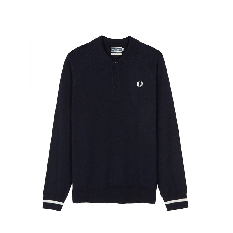 Navy Long Sleeve Knitted Polo Shirt Variants