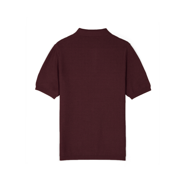 Aubergine Textured Knitted Polo Shirt