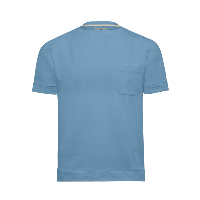Pale Blue Boat Neck Cutter T-Shirt