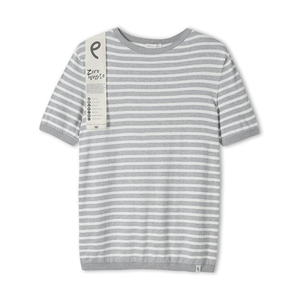 Light Grey Knitted Breton T-Shirt