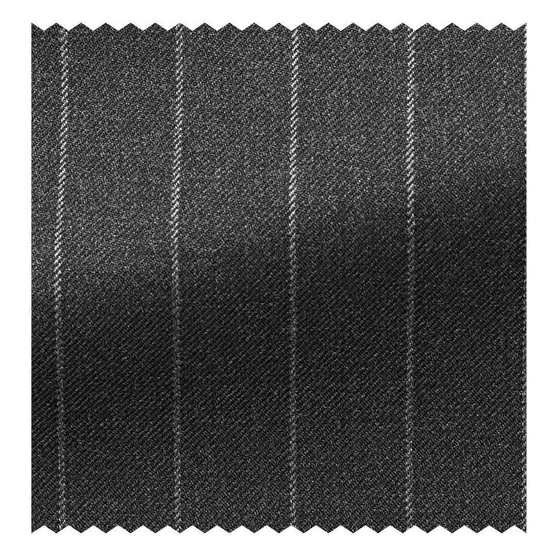 Charcoal Grey Chalk Stripe 12.5 oz Super 120's Twill