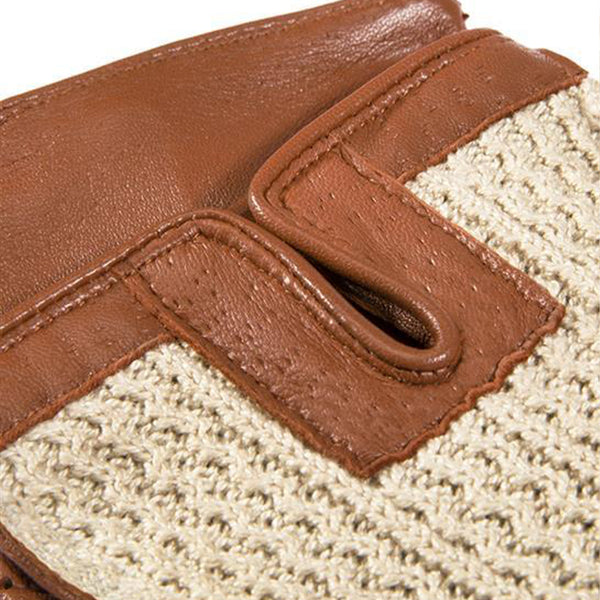 English Tan Crochet Back Driving Gloves