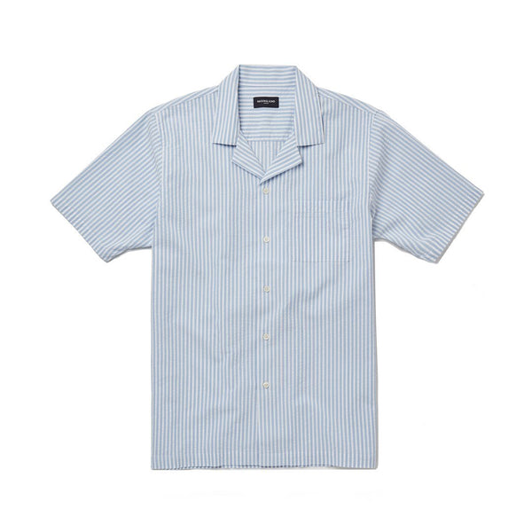 Sky Blue Stripe Seersucker Camp Collar Shirt
