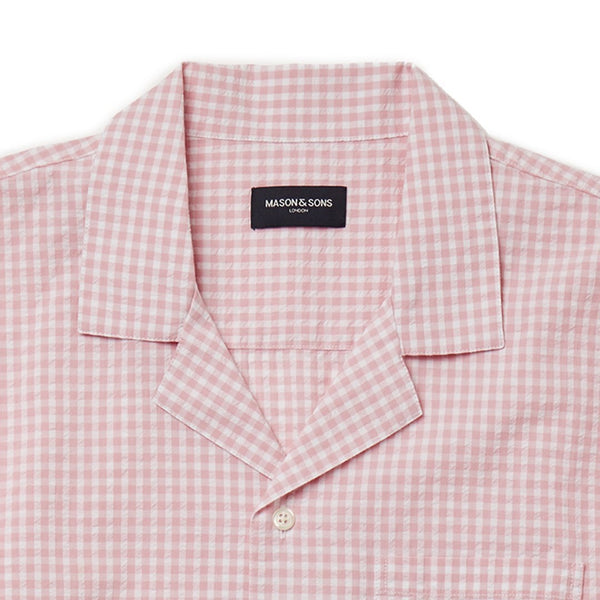 Pink Gingham Check Seersucker Camp Collar Shirt