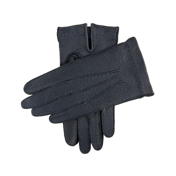 Navy Unlined Peccary Leather Gloves