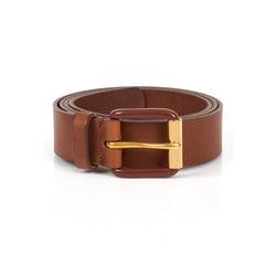 Modernist Exposed Belt in Saddle Brown with Brass