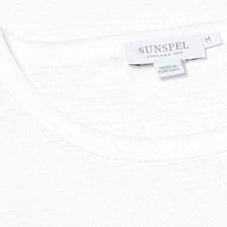 White Cellular Cotton Crew Neck T-Shirt