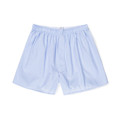 Light Blue Micro Gingham Cotton Poplin Boxer Shorts