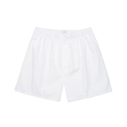 White Cotton Poplin Long-Cut Boxer Shorts