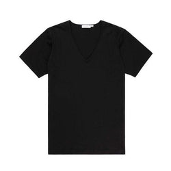 Black Superfine Cotton Low V-Neck T-Shirt