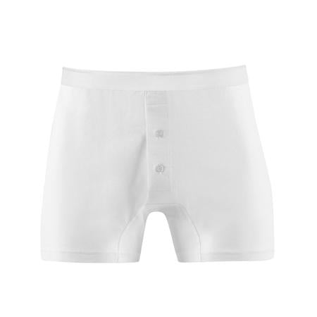 White Superfine Cotton Two-Button Shorts